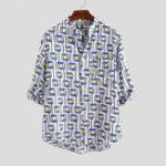 Оригинал Мужская летняя клетчатая рубашка с длинным рукавом и дышащей рубашкой