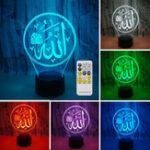 Оригинал 3D Colorful Ночь Лампа освещение свет Религиозный Ислам Аллах Акриловые Главная Украшения Стола