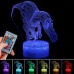 Оригинал 3D Иллюзия Динозавр Night Light Touch RemoteEControl Home Decor Лампа Настольный Подарок