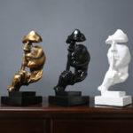 Оригинал Смола Nordic Style Бесшумный Украшения Статуи Золотые скульптуры тишины Украшения дома
