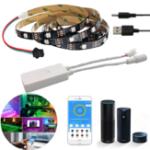 Оригинал Не водонепроницаемый WS2812 1M / 2M Smart LED Strip Light + DC5-24V SP501E Контроллер Работа Белый Alexa Google Assistant