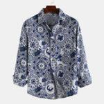 Оригинал Мужские сине-белые фарфоровые рубашки с длинным рукавом