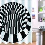 Оригинал 3D-эффект Геометрическая площадь Ванная комната Занавеска для ванны 180 * 180см C 12