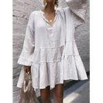 Оригинал Pure Color V-образным вырезом с длинным рукавом повседневная мини Платье