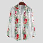 Оригинал Мужская мода с принтом и отложным воротником с длинным рукавом Рубашка