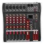 Оригинал 6-канальный профессиональный музыкальный стерео аудио микшер USB Power Mixing Console MP3 Player