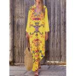 Оригинал Богемный Женское Длинный макси с v-образным вырезом и цветочным принтом Платье