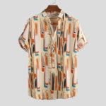 Оригинал Мужская мода Colorful Печатные дышащие рубашки Henley
