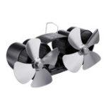 Оригинал 8 Лопасти Камин с двумя головками Вентилятор дровяной печи Циркуляционный эко-вентилятор