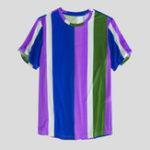 Оригинал Мужская летняя Colorful Stripe Crew Шея Повседневные футболки