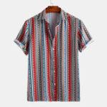 Оригинал Рубашки с короткими рукавами и принтом в этническом стиле с короткими рукавами