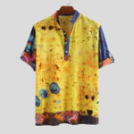 Оригинал Мужские рубашки Henley с принтом на половину и рукавами медузы