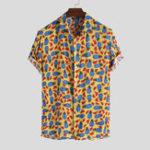 Оригинал Мужские рубашки с коротким рукавом с ананасовым принтом