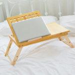 Оригинал Многофункциональный складной лоток для кровати Lapdesk, регулируемый стол с выдвижным ящиком из бамбука