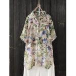 Оригинал Женская пуговица с цветочным принтом и коротким рукавом