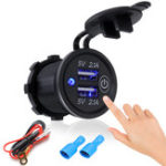 Оригинал P2-S Touch Switch 2.1A + 2.1A Dual USB Авто Моторизованное Модифицированное Зарядное Устройство Мобильного Телефона 12-24 В