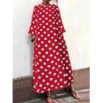 Оригинал Женская горошек с принтом в горошек Шея Maxi с длинным рукавом Платье