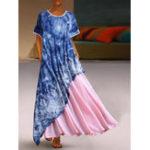 Оригинал Элегантный с коротким рукавом O-образным вырезом с цветочным принтом нерегулярный Платье