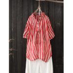 Оригинал Женская отворотовая полосатая блузка с коротким рукавом
