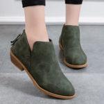 Оригинал Женская мода Pure Color Zipper Лодыжки Ботинки