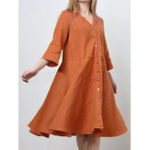 Оригинал Женский сплошной цвет Loose Button V-образным вырезом с рукавом 3/4 Mini Платье