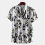 Оригинал Рубашки с короткими рукавами с восточным цветочным принтом Men Ink