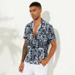 Оригинал Mens Summer Abstrct Печатные дышащие этнические повседневные рубашки