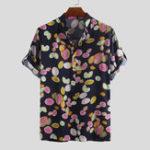 Оригинал Mens Summer Leaves Печатные гавайские рубашки с воротником