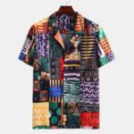 Оригинал Mens Ethnic Multi Шаблон Печатные повседневные рубашки