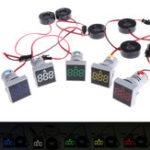 Оригинал 220V 22MM 0-100A Цифровой амперметр Индикатор тока Индикатор Led Лампа Квадратный световой сигнал с CT Монитор тока