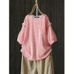 Оригинал Женская футболка с коротким рукавом с карманами в клетку спереди