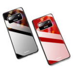 Оригинал Bakeey Luxury Lycra Series Shockproof Tempered Glass Back Cover Protective Case for Samsung Galaxy S10 Plus