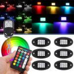 Оригинал 6шт Универсальный Colorful RGB LED Авто Rock Lights RF Dual Дистанционное Управление 5050 72 Led Водонепроницаемы IP68 Энергосберегающий Окружающий Лампа Авто В