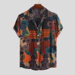 Оригинал Mens Summer 100% Rayon Ethnic Colorful Печатные повседневные рубашки