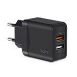Оригинал TOPK 3A QC 3.0 Быстрая зарядка с двумя портами USB Адаптер зарядного устройства ЕС для iPhone X XS Oneplus Pocophone HUAWEI P30 XIAOMI MI9 S10 S10+