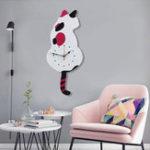 Оригинал Wagging Tail Кот Дизайн Стены Часы Детская Спальня Украшение Стены Уникальный Подарок Творческий Мультфильм Mute DIY Часы
