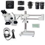 Оригинал 3.5X 7X 45X 90X Стенд с двумя штангами Zoom Simul Focal Тринокулярный стереомикроскоп + 34MP камера Микроскоп для промышленного ремонта печатных плат