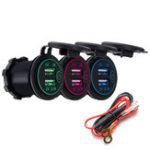 Оригинал P8-S Сенсорный выключатель со шнуром питания 2.1A + 1A Dual USB Авто Моторизованный Модифицированное зарядное устройство телефона 12-24В