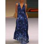 Оригинал V-образный вырез без рукавов с цветочным принтом Maxi Платье