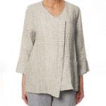 Оригинал Женская O-образная полоса с рукавами 3/4 Нерегулярная блуза