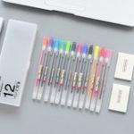 Оригинал YOUFAN YF18-142 Творческий простой полупрозрачный канцелярский карандаш Чехол с 12 цветными ручками и 2 липкими заметками