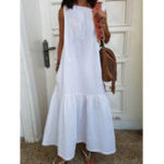 Оригинал Женщины без рукавов O-образный вырез Хлопок Solid Maxi Платье