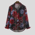 Оригинал Мужские хлопковые рубашки с длинным рукавом Oriental Шаблон с принтом