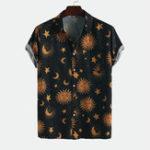 Оригинал Мужские рубашки с короткими рукавами и принтом Sun Moon