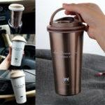 Оригинал 500ML Stainless Steel Leakproof Insulated Thermal Portable Car Travel Coffee Mug Cup