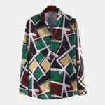 Оригинал Мужские рубашки с длинным рукавом с геометрическим принтом Colorful
