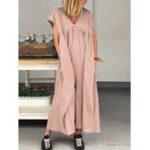 Оригинал Женская повседневная с коротким рукавом с v-образным вырезом Loose Maxi Платье