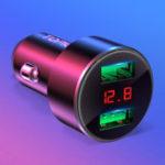 Оригинал TOPK 3.1A QC3.0 Dual USB Ports LED Напряжение Дисплей Быстрая зарядка Авто Зарядное устройство для iPhone X XS Oneplus XIAOMI MI9 S10 S10+