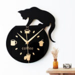 Оригинал Silent Cartoon Wall Часы Cute Climbing Кот Для Питья Кофе Часы Настенные Украшения Чашка Кофе Часы Гостиная Home Decor