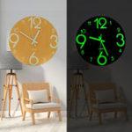 """Оригинал 12 """" Glow In The Dark Mute Деревянная Стена Часы Для Дома Гостиная На открытом воздухе Подарки"""